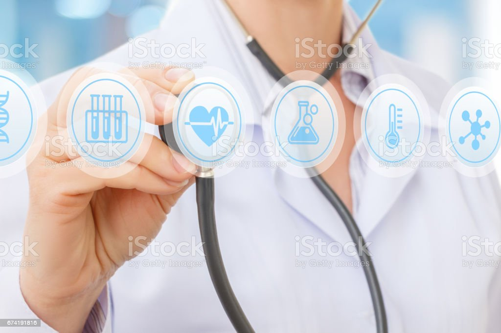 Diagnosis and treatment of heart. stock photo