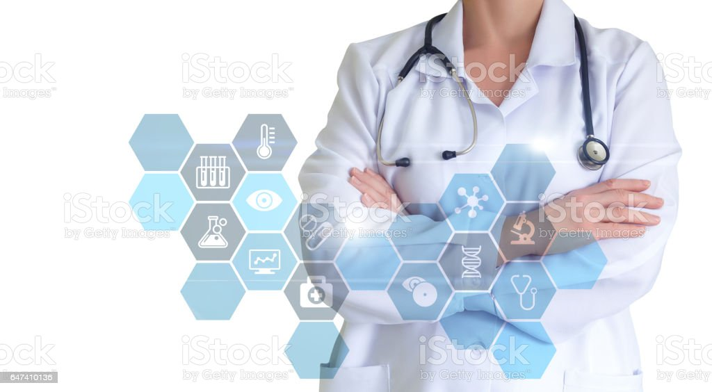 Diagnosis and treatment. stock photo