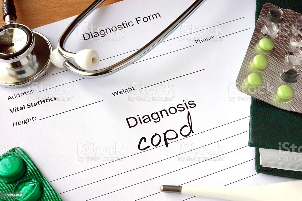 Diagnosis Chronic obstructive pulmonary disease (COPD) and pills. stock photo