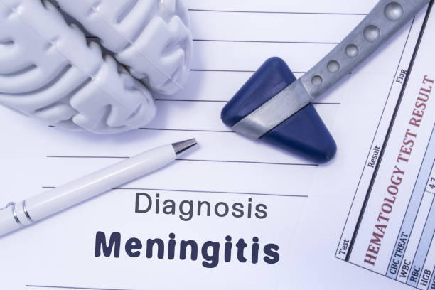 Diagnosis meningitis. Figure brain, neurological hammer, printed on a paper blood test and written diagnosis of meningitis in the medical form is lying on the table in the doctor neurologist cabinet Diagnosis meningitis. Figure brain, neurological hammer, printed on a paper blood test and written diagnosis of meningitis in the medical form is lying on the table in the doctor neurologist cabinet neuroscience patient stock pictures, royalty-free photos & images