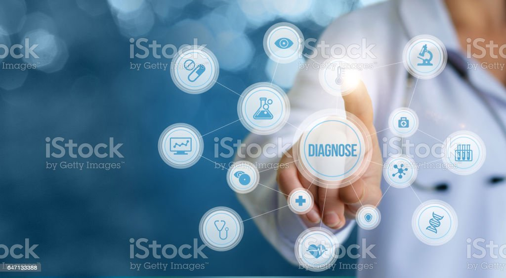 Diagnosis testing of patients. stock photo