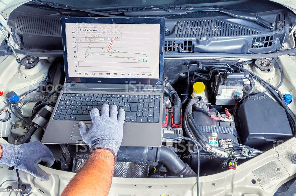 diagnostic car computer stock photo