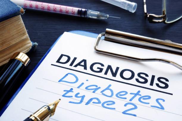 Diagnostic form with diagnosis diabetes type 2. stock photo