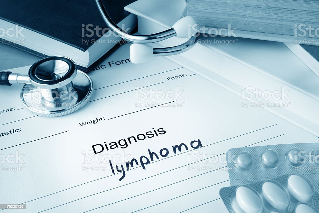 Diagnostic form with lymphoma. stock photo