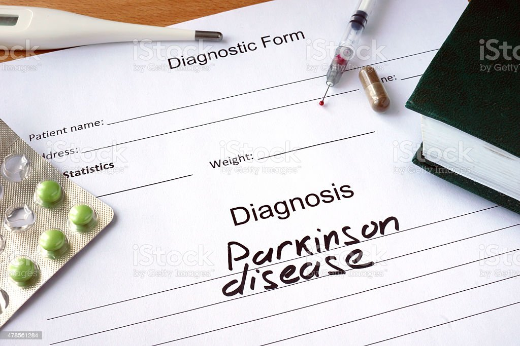 Diagnostic form with Parkinson disease. stock photo