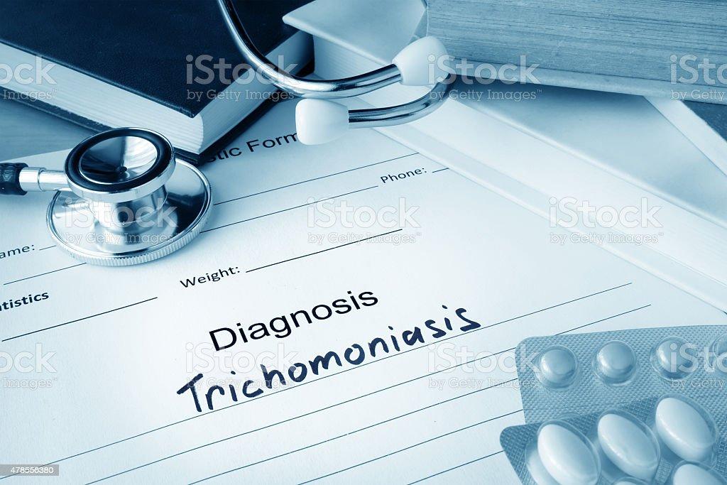 Diagnostic form with Trichomoniasis. stock photo