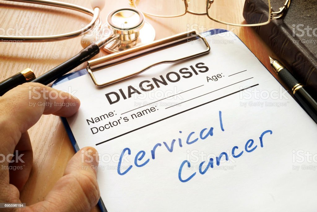 A diagnostic form with words Cervical cancer. royalty-free stock photo