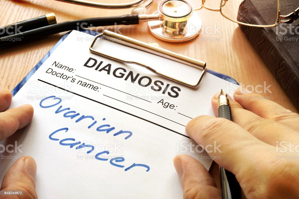 A diagnostic form with words Ovarian cancer. stock photo