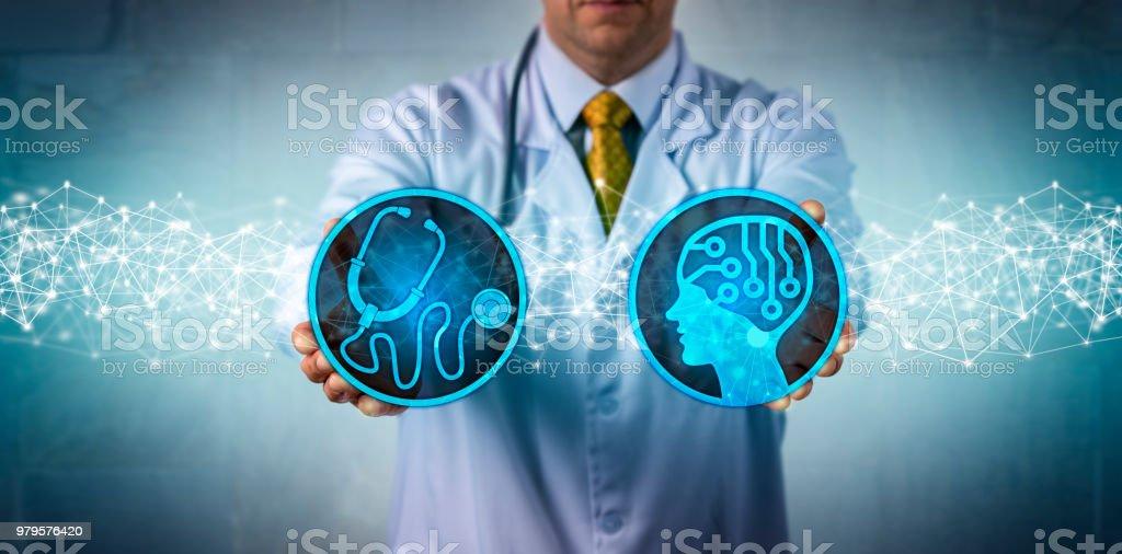 Diagnostician Combining AI App and Diagnostics stock photo