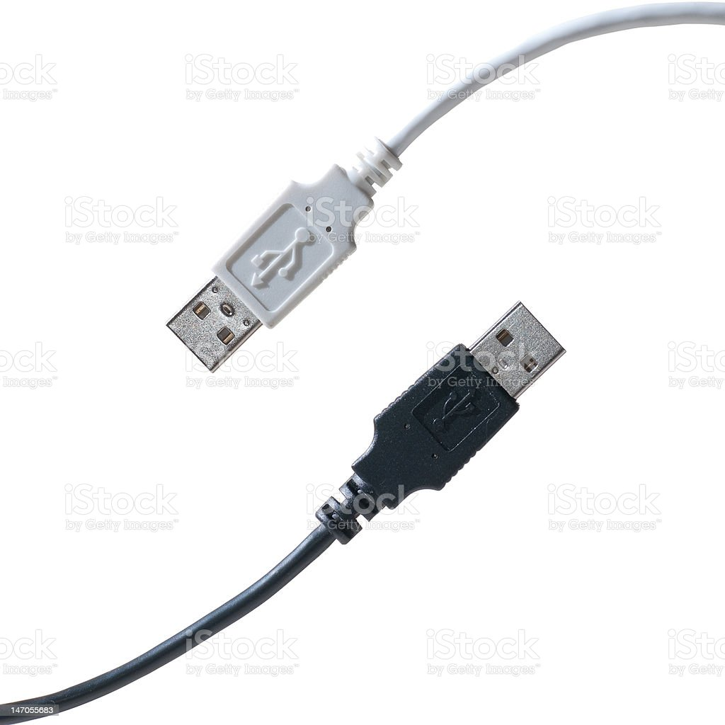 Diagonal black and white USB cables stock photo