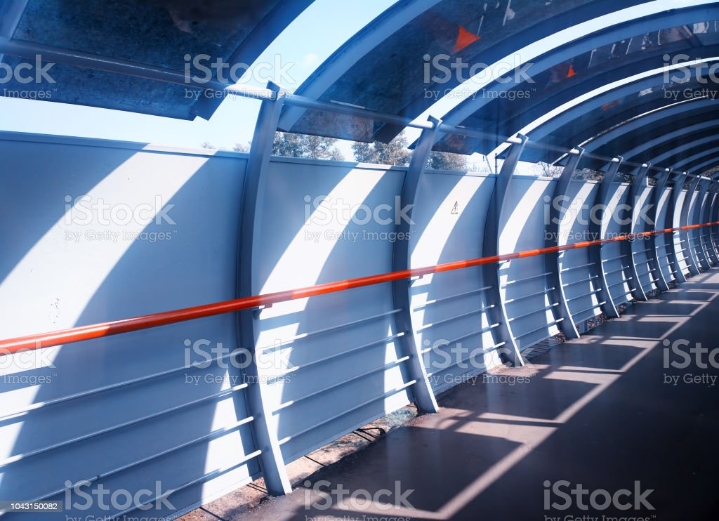 Diagonal bridge tunnel architecture background stock photo