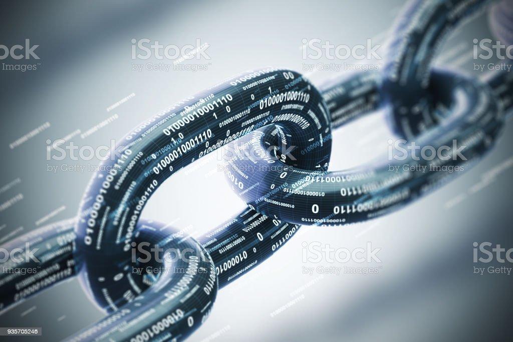 Cadena diagonal, un concepto de blockchain, primer plano gris - foto de stock