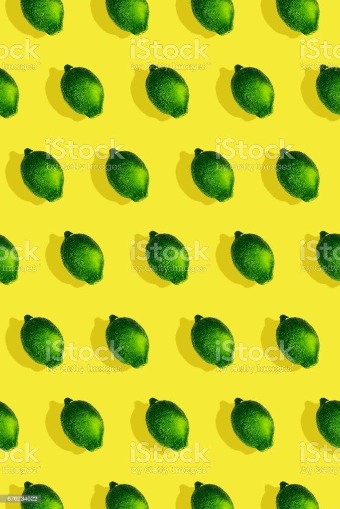 Diagonal colorful lime pattern pop art style on yellow stock photo