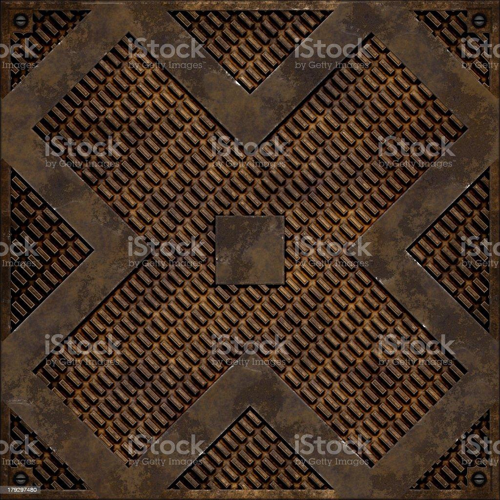 Diagonal cross manhole cover (Seamless texture) royalty-free stock photo