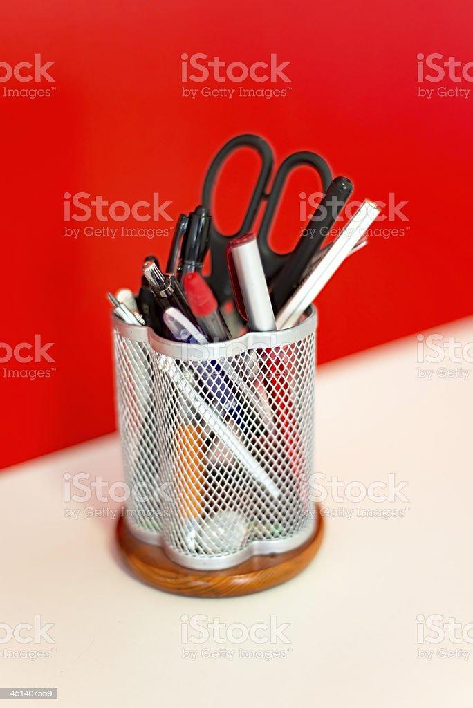 Diagonal glass of pencils stock photo