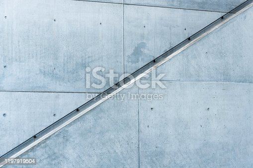 outdoor stair handrail on a concrete building in Munich, Germany