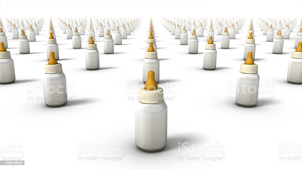 Diagonal high angle view of endless Baby Bottles stock photo
