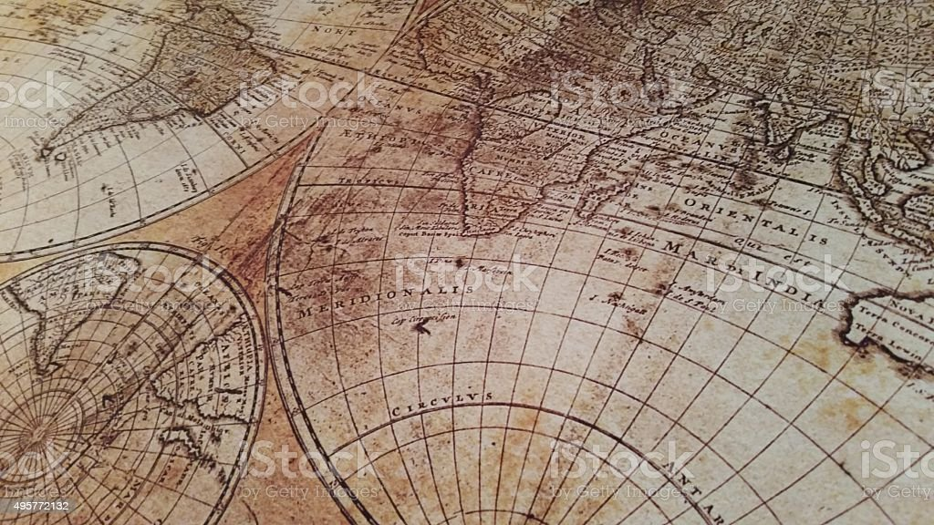 Diagonal Historically Antique World Map stock photo