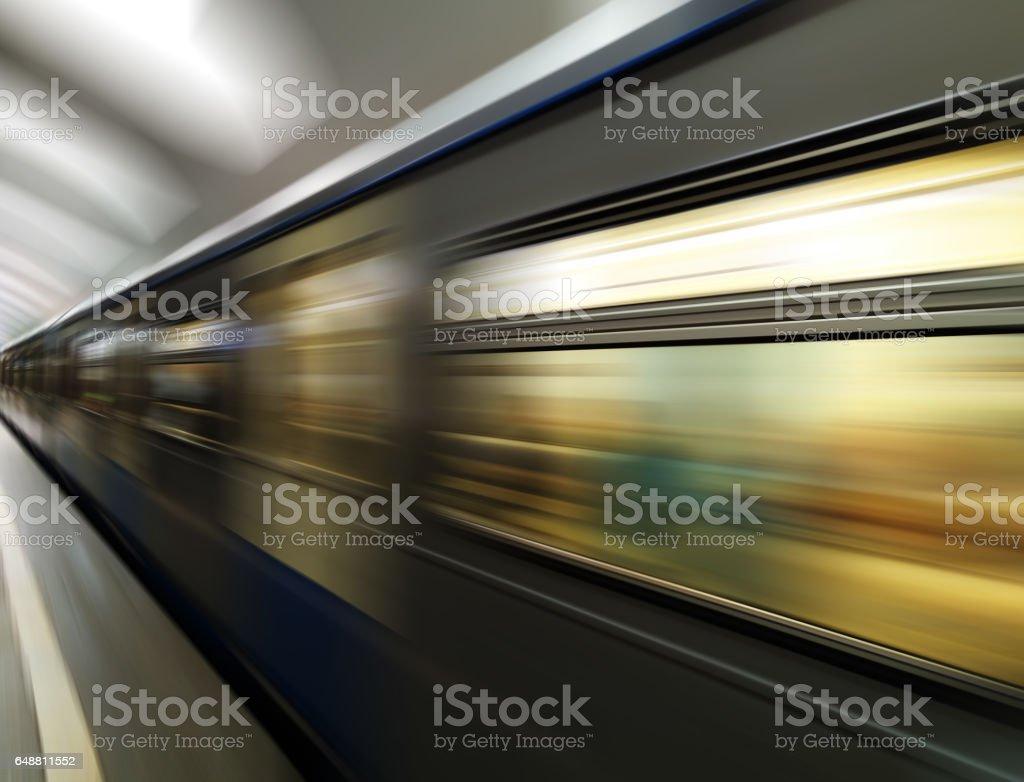 Diagonal motion blur metro train background stock photo