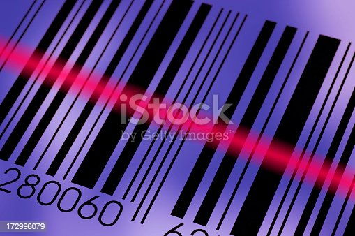 92884259 istock photo Diagonal photo of a barcode being read by the reader 172996079