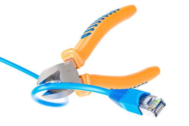 Diagonal pliers cutting lan network computer cable, 3D rendering stock photo