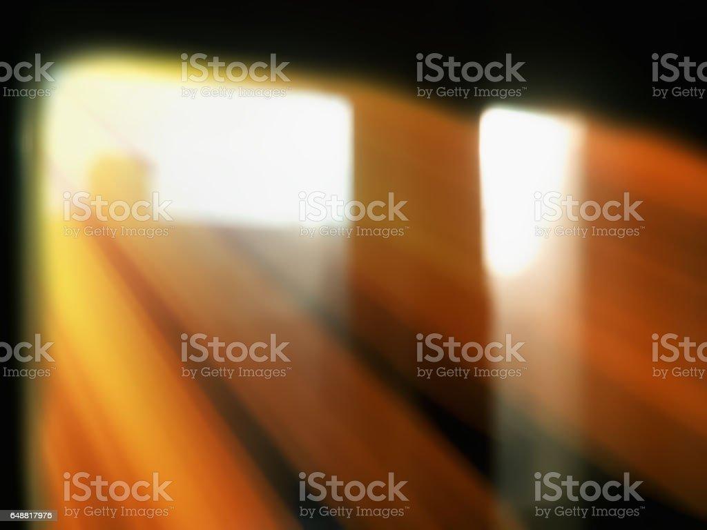 Diagonal rays of light from windows bokeh background stock photo