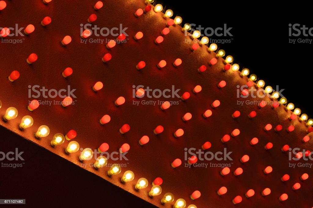 diagonal red and white bulbs stock photo