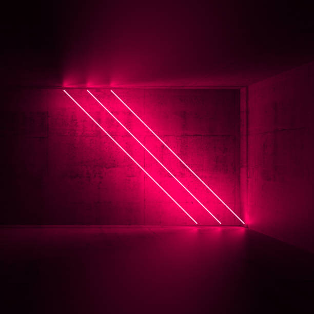 diagonal red neon lights, 3d render - stage performance space stock pictures, royalty-free photos & images