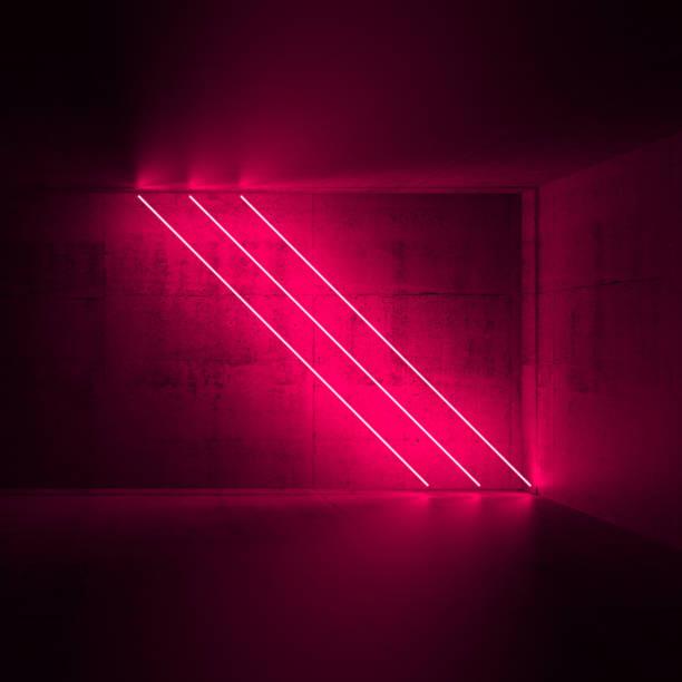 diagonalen roten neonröhren, 3d render - partyraum stock-fotos und bilder