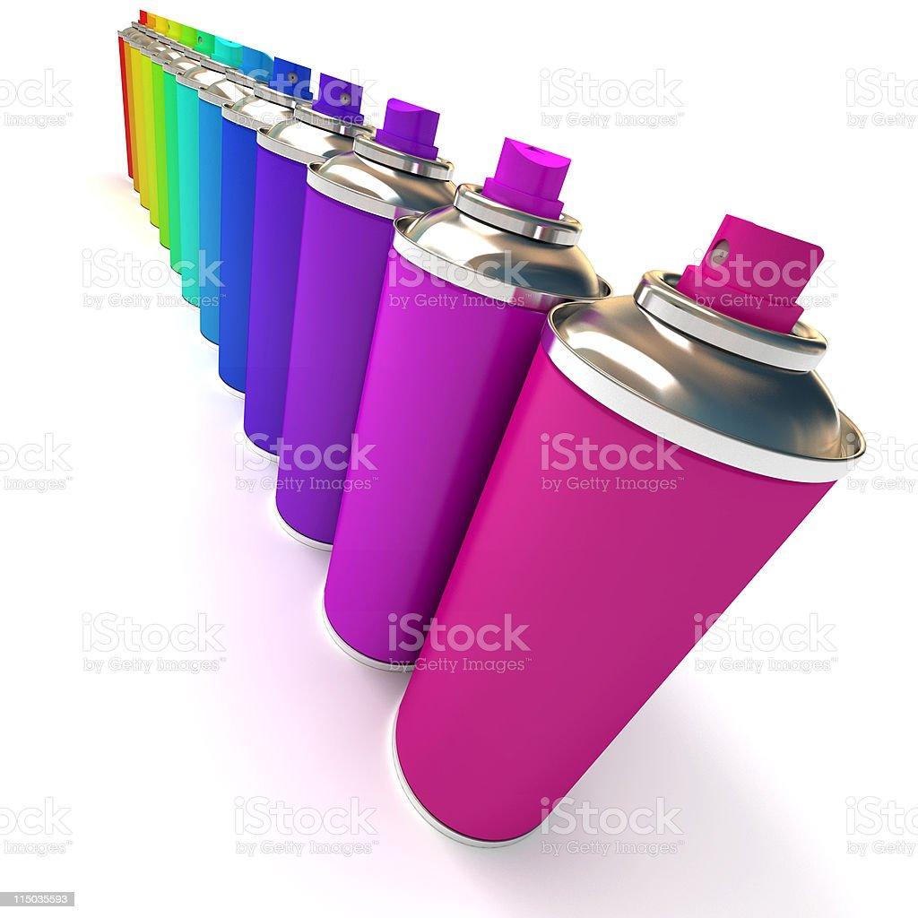 Diagonal row of multicolored sprays stock photo