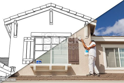 534196421 istock photo Diagonal Split Screen of Drawing and Photo of House Painter 637001600