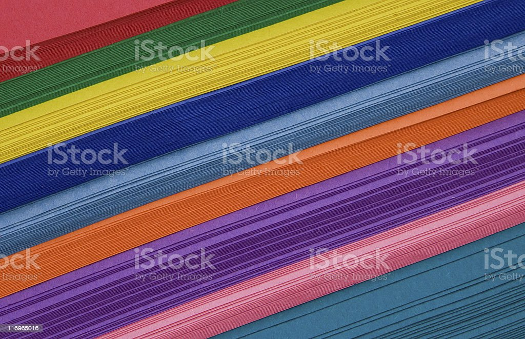 Diagonal Stack of Colorful Construction Paper stock photo