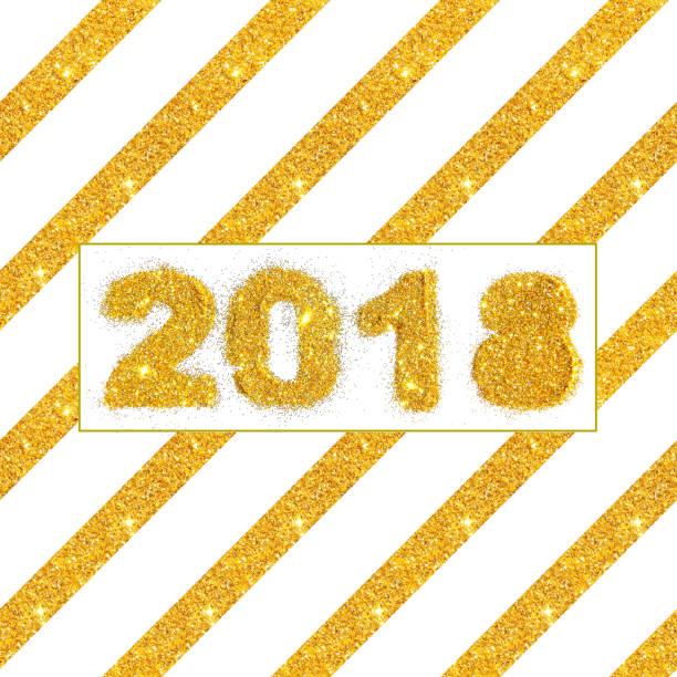 diagonale streifen und zahlen 2018 golden glitter auf weißem hintergrund - nägel glitzer stock-fotos und bilder