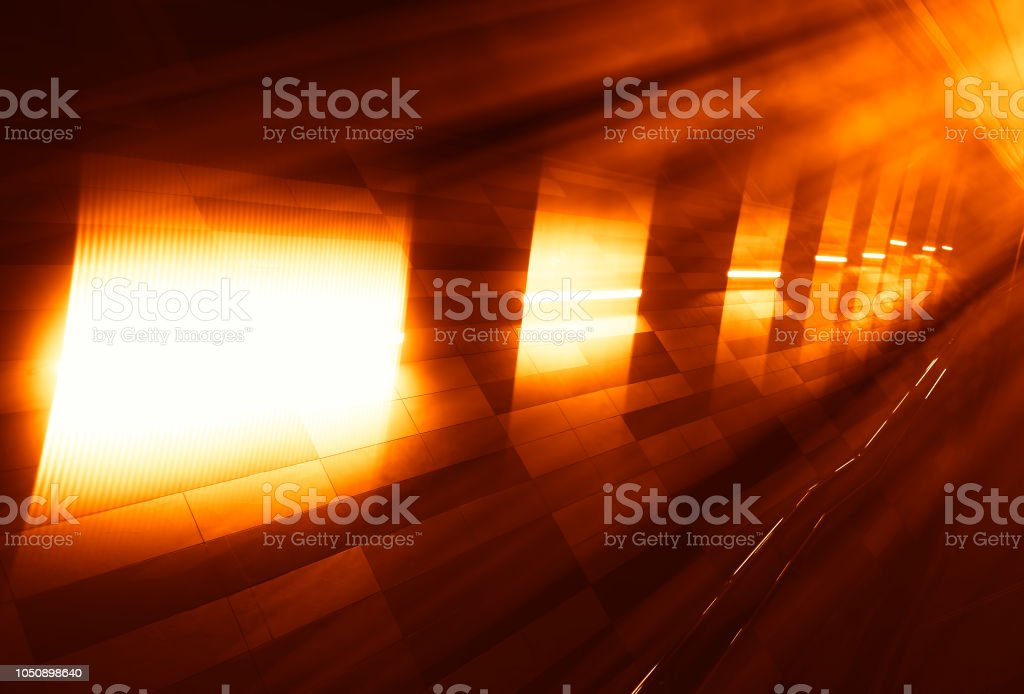 Diagonal sunset light leak in metro background stock photo
