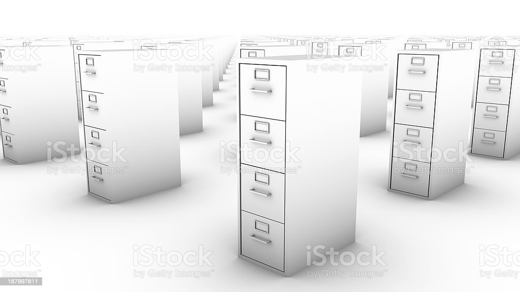 Diagonal view of endless File Cabinets (White) royalty-free stock photo