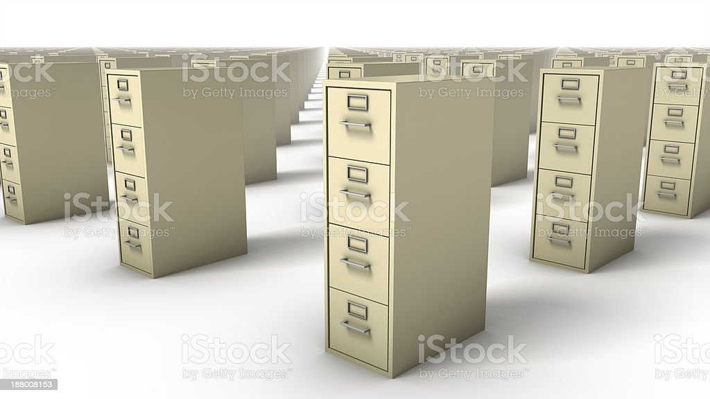 Diagonal view of endless File Cabinets (Beige) royalty-free stock photo