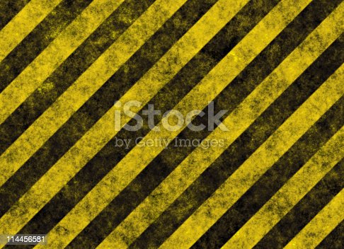 istock Diagonal yellow and black hazard stripes 114456581
