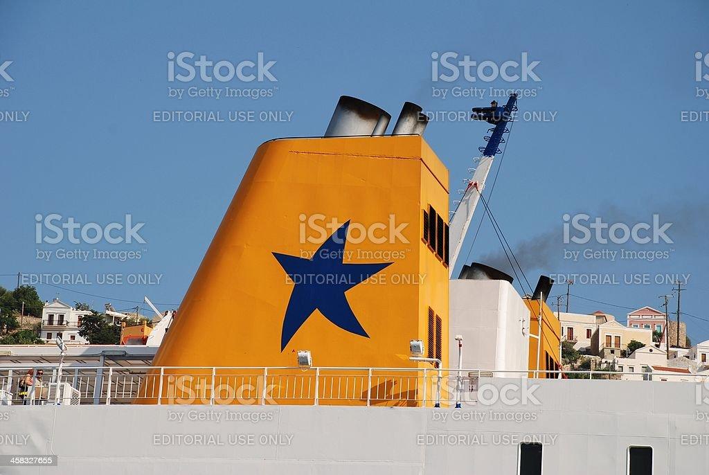 Diagoras ferry, Symi island stock photo
