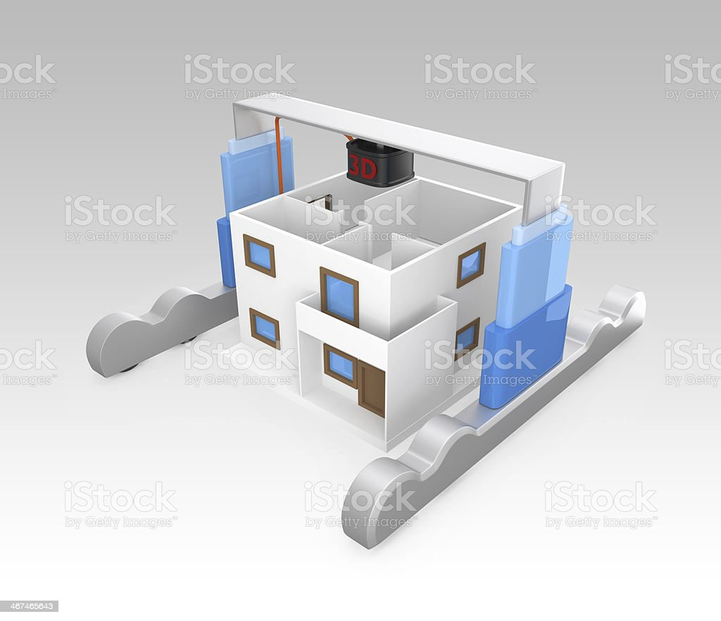 Diagram of 3D printer building a house stock photo