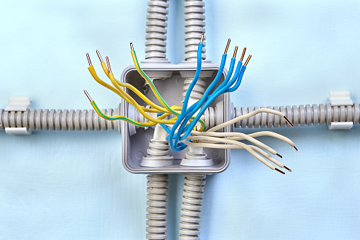 copper wiring of new electrical junction box process of installing