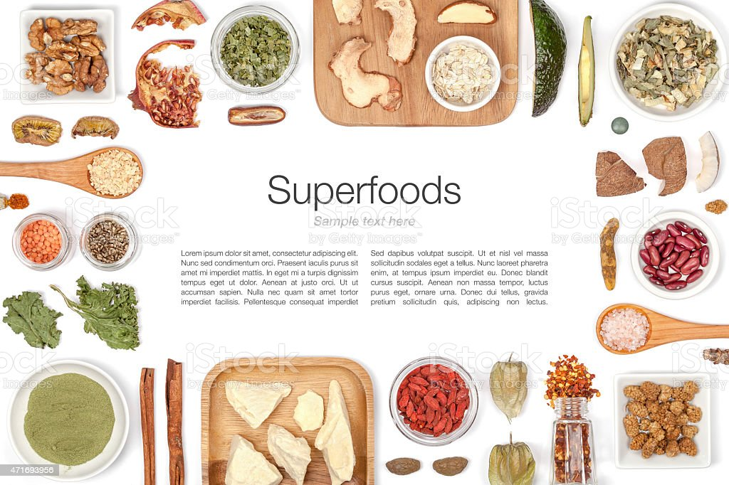 Diagram of superfoods arranged geometrically around text stock photo