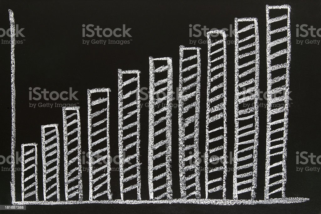 diagram sketched on blackboard royalty-free stock photo