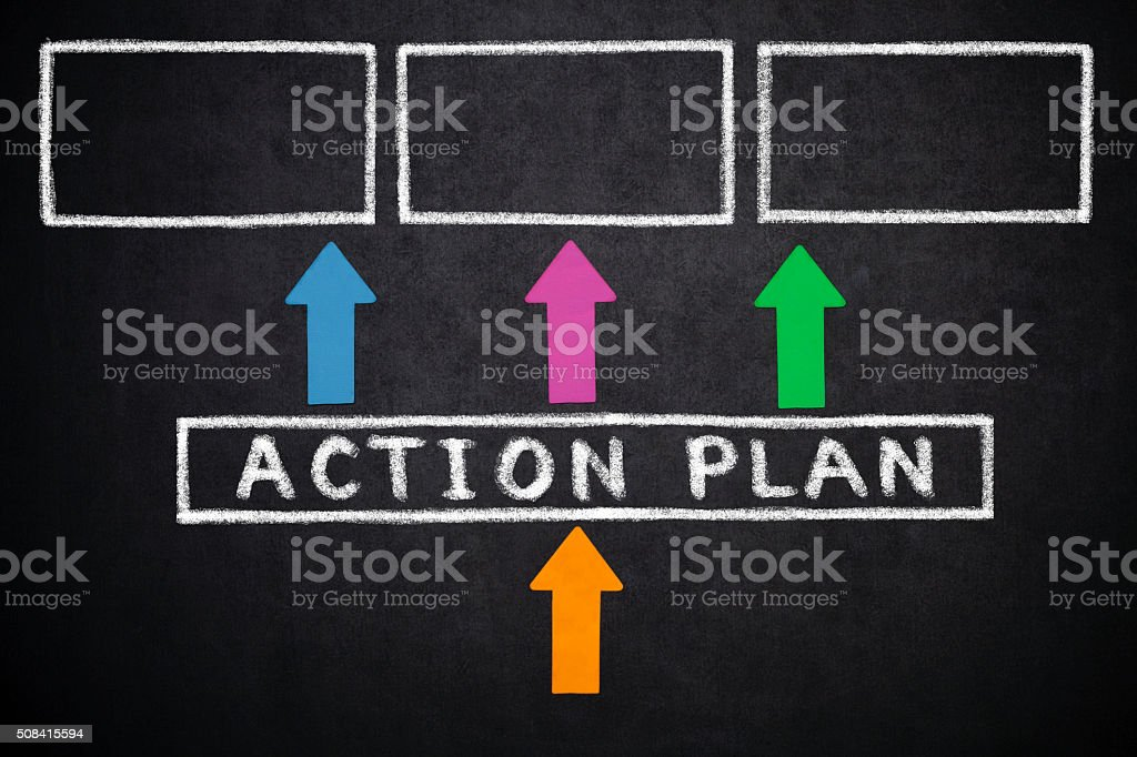 Diagram with Action Plan stock photo