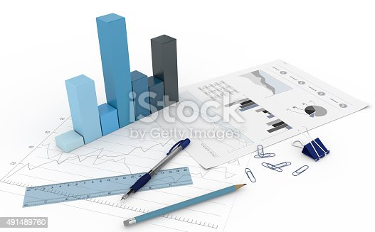 istock 3D Diagram with charts 491489760
