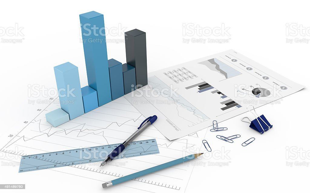 3D Diagram with charts stock photo