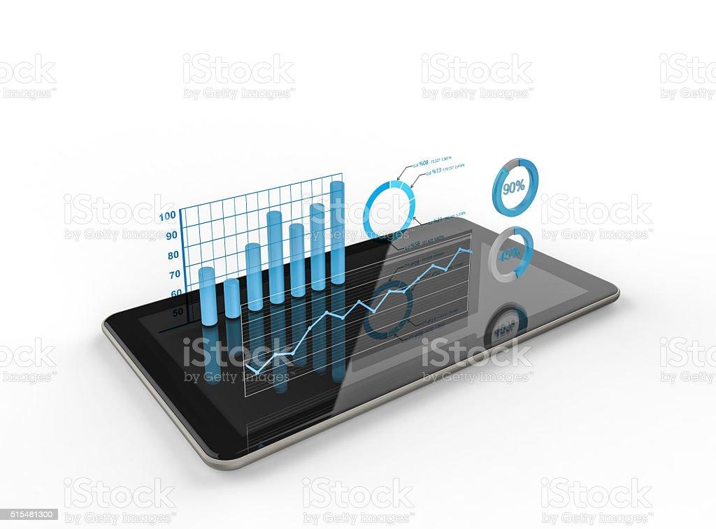 - Diagramme und charts projizieren von tablet - Lizenzfrei Analysieren Stock-Foto