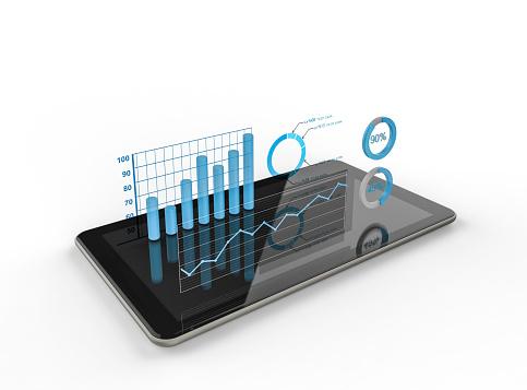 Diagramme Und Charts Projizieren Von Tablet Stockfoto und mehr Bilder von Analysieren