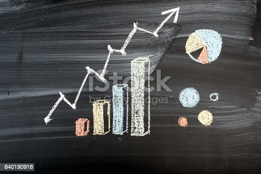 istock Diagrams and graphs on a blackboard 640190918
