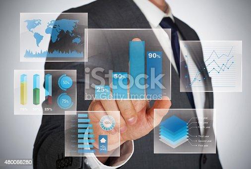 istock Diagrams on virtual screen 480066280