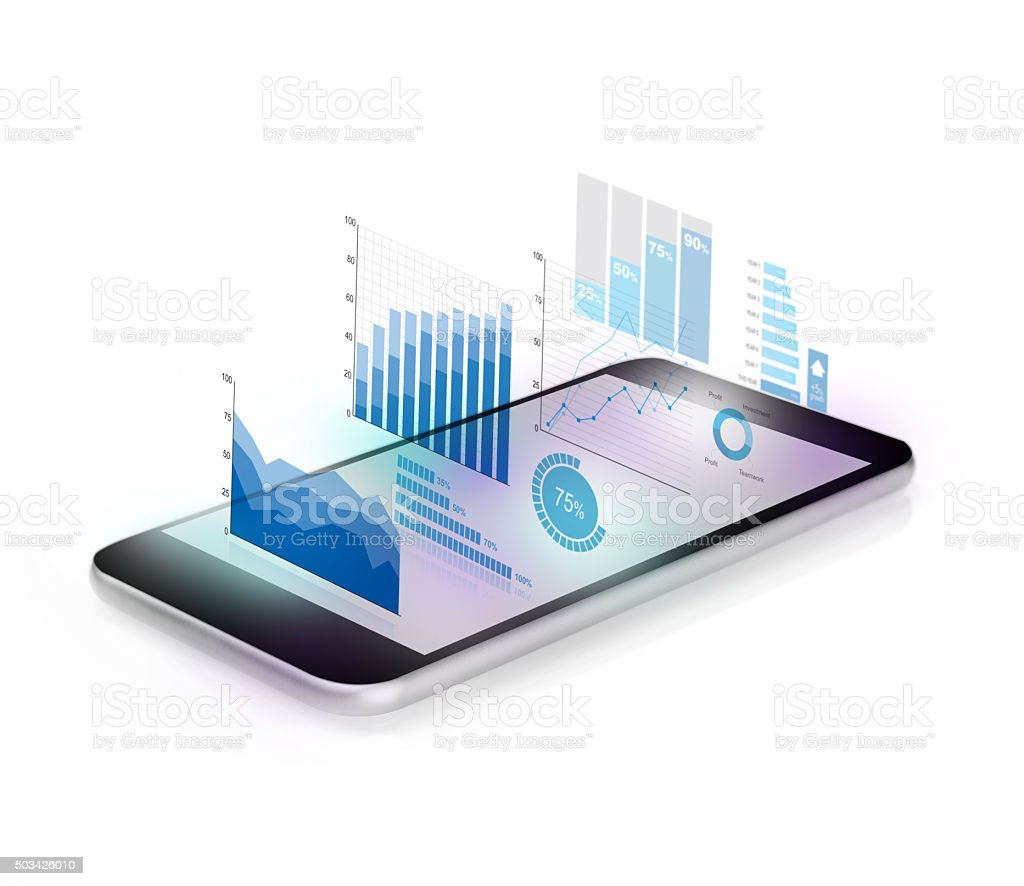 Diagrams projecting from mobile phone stock photo
